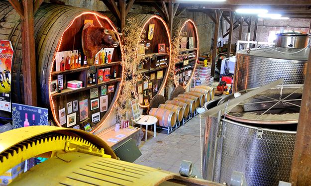 Le caveau de dégustation du domaine de La Gourgasse vue d'en haut