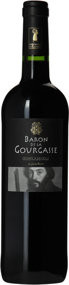 La nouvelle étiquette de la bouteille du Baron de la Gourgasse